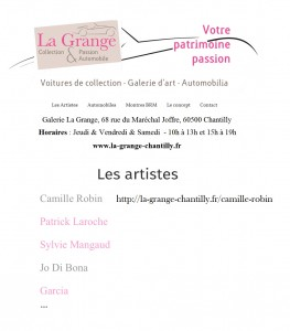 Artiste Permanent La Grange Chantilly